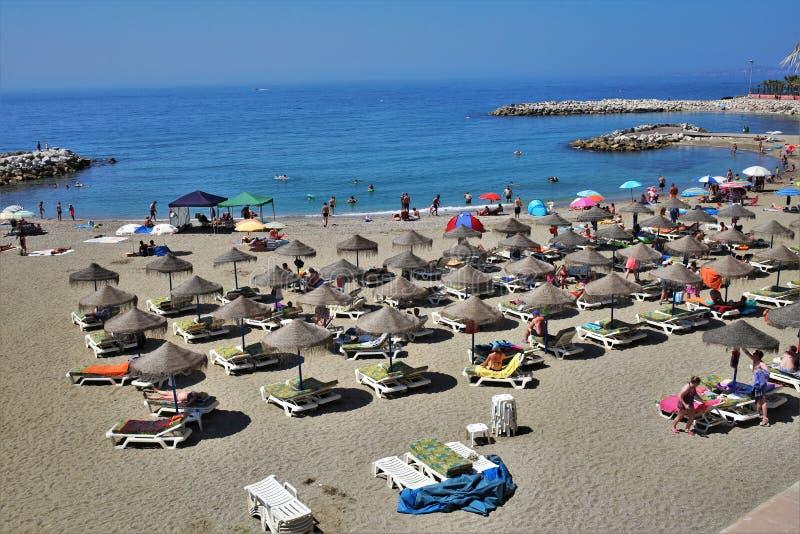 Strand Bonita in de stad van Benalmadena Malaga royalty-vrije stock afbeelding