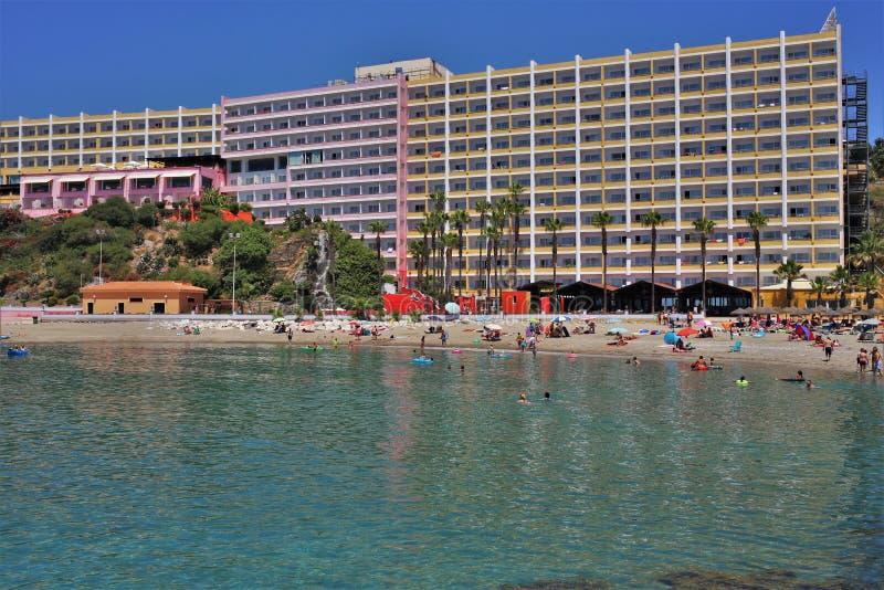 Strand Bonita in de stad van Benalmadena Malaga stock foto
