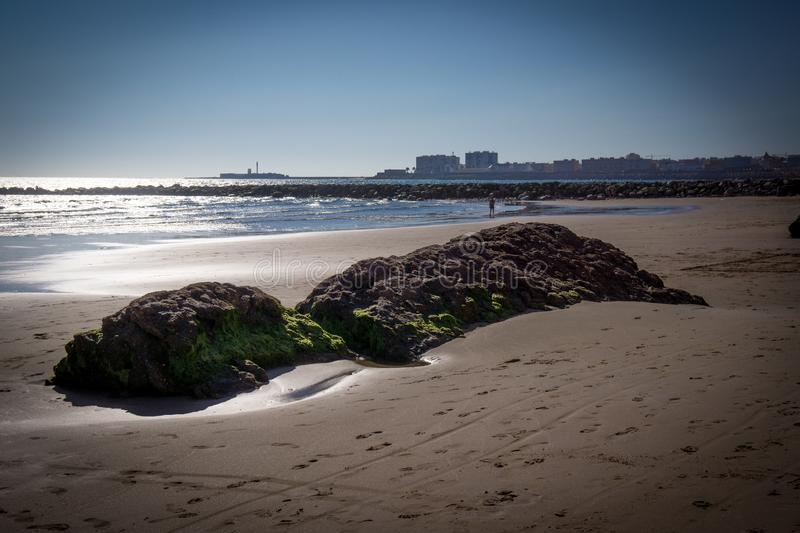 Spain Andalusia beach in Cadiz. At lunchtime stock photo