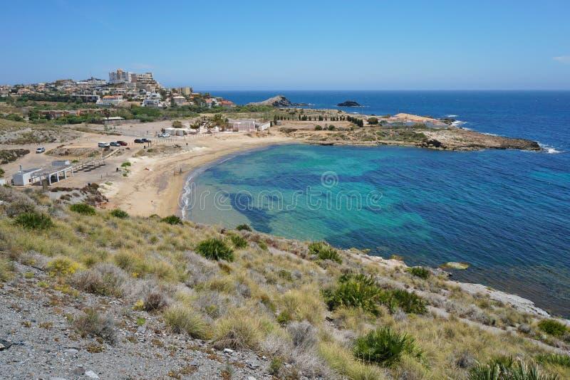 Strand Cala Reona Cabo DE Palos Cartagena Spain royalty-vrije stock afbeeldingen