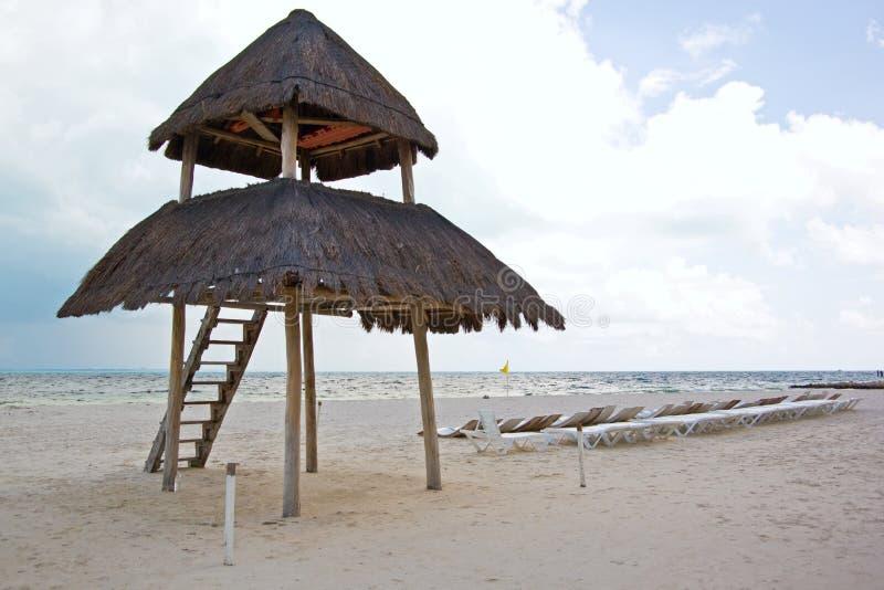 Strand Cancun Palapa Stockbilder