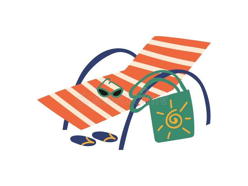 Strand Chaise Longue, illustration för vektor för sommarloppsymbol royaltyfri illustrationer