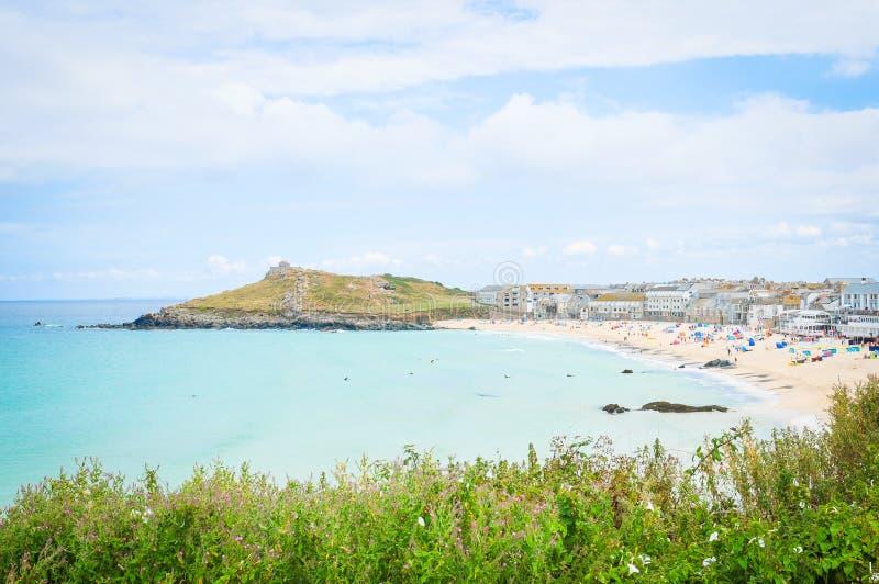 Strand in Cornwall, Engeland royalty-vrije stock foto's