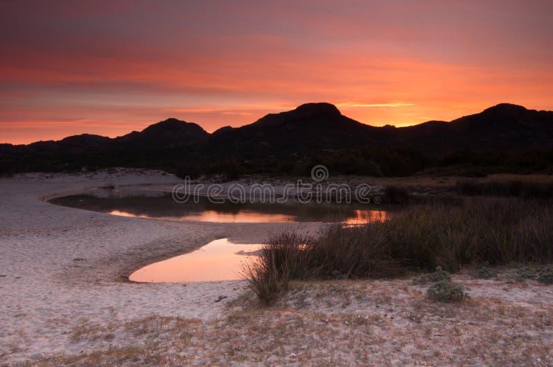 strand corsica över solnedgång arkivfoton