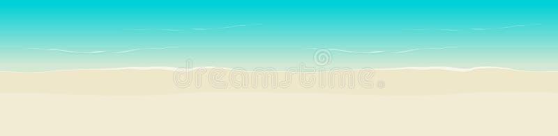 Strand de achtergrond vector naadloze illustratie hoogste mening, de vlakke beeldverhaal overzeese kust en het strand schuren het royalty-vrije illustratie