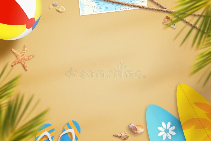 Strand in de zomertijd met voorwerpen voor pret wordt omringd die In de schaduw van palmen royalty-vrije stock afbeelding