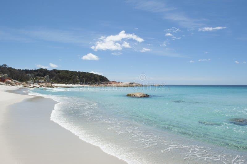 Strand an der Bucht von Feuer-Tasmanien-Küste lizenzfreie stockfotografie