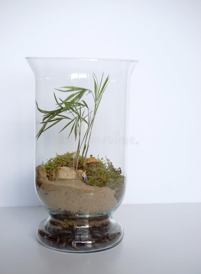Strand der einsamen Insel in einem Glas lizenzfreies stockfoto