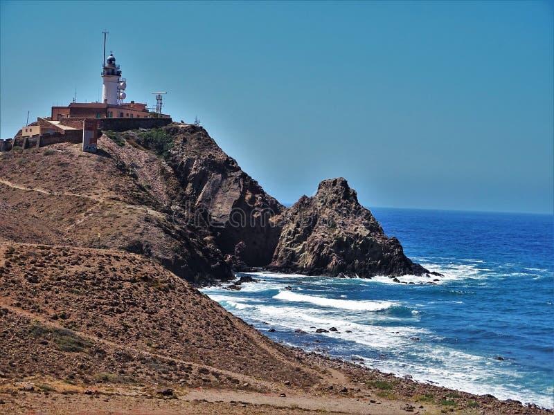 Strand des Corralete-cabo Des Gata Nijar Almeria Andalusia Spain lizenzfreie stockfotografie