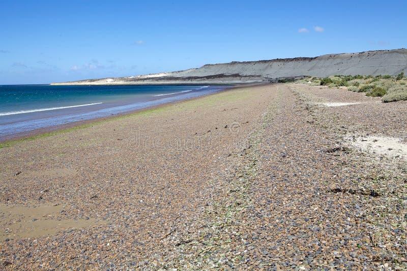 Strand dichtbij Puerto Madryn, een stad in Chubut-Provincie, Patagonië, Argentinië stock foto's
