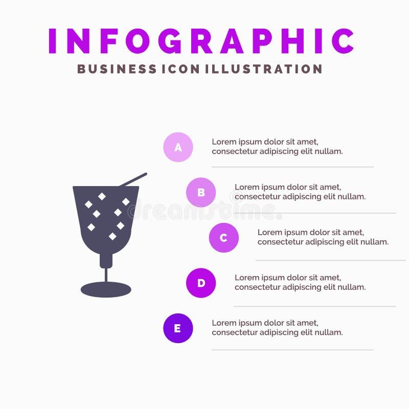 Strand drink, bakgrund för Juice Solid Icon Infographics 5 momentpresentation stock illustrationer