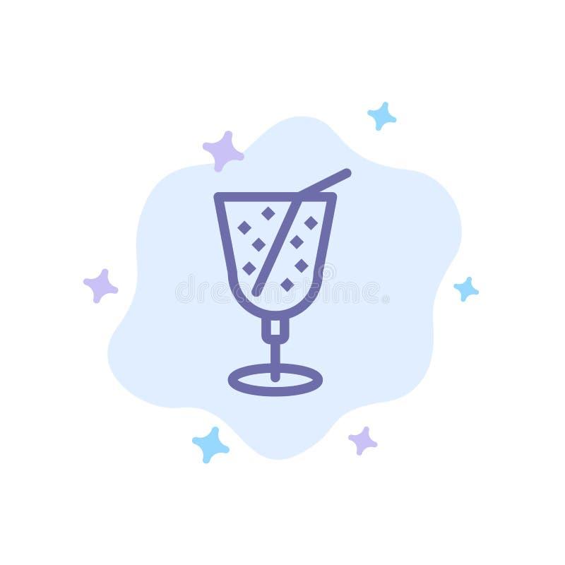Strand drink, Juice Blue Icon på abstrakt molnbakgrund stock illustrationer