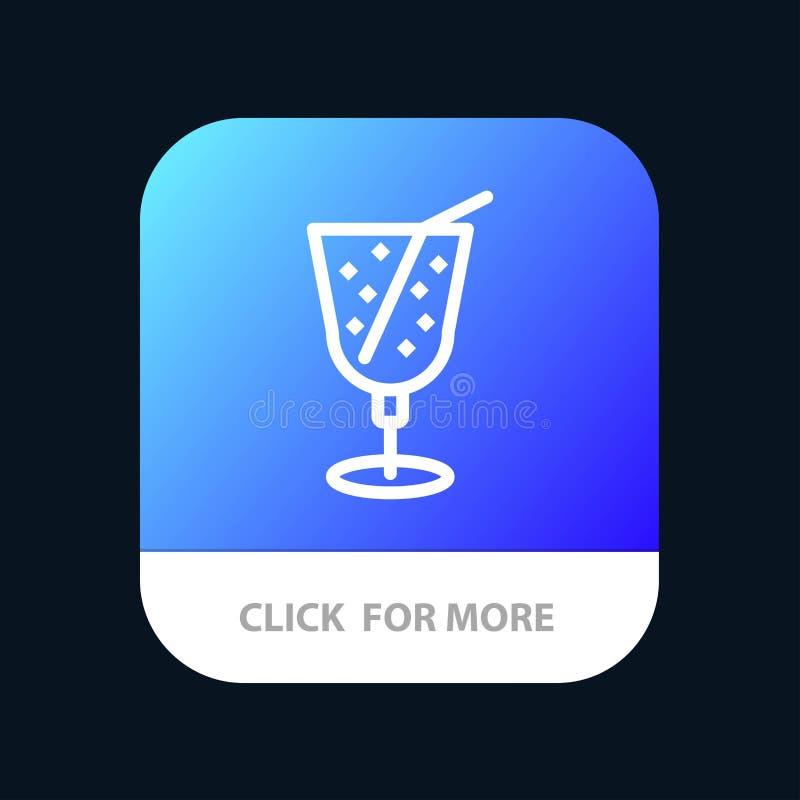 Strand drink, Juice Mobile App Button Android och IOS-linje version royaltyfri illustrationer