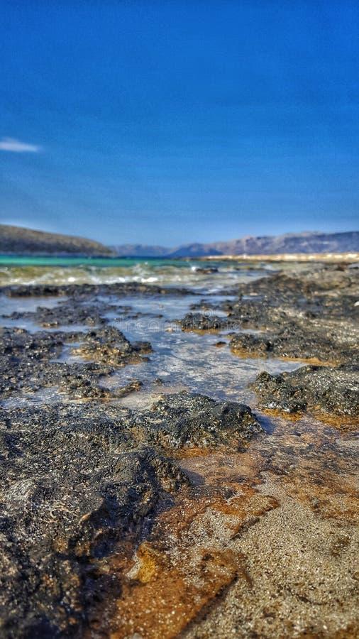 Strand in Elafonisos, Griekenland stock foto's