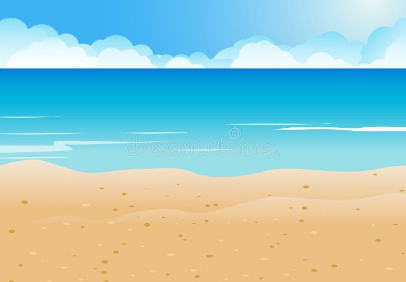 Strand en blauwe overzeese achtergrond royalty-vrije illustratie