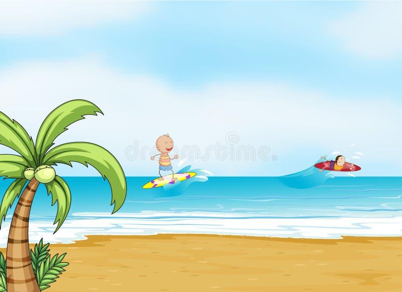 Strand en oceaan vector illustratie