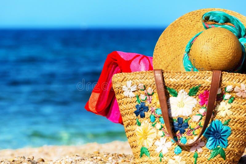 Strand en overzeese elementen royalty-vrije stock afbeeldingen