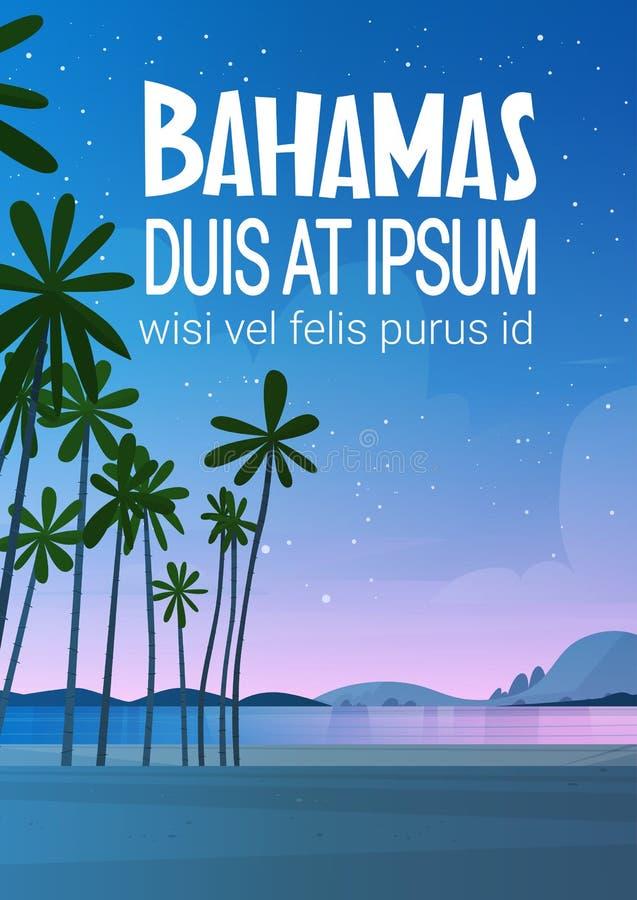 Strand för Bahamans havskust efter för sjösidalandskap för solnedgång härligt begrepp för semester för sommar stock illustrationer