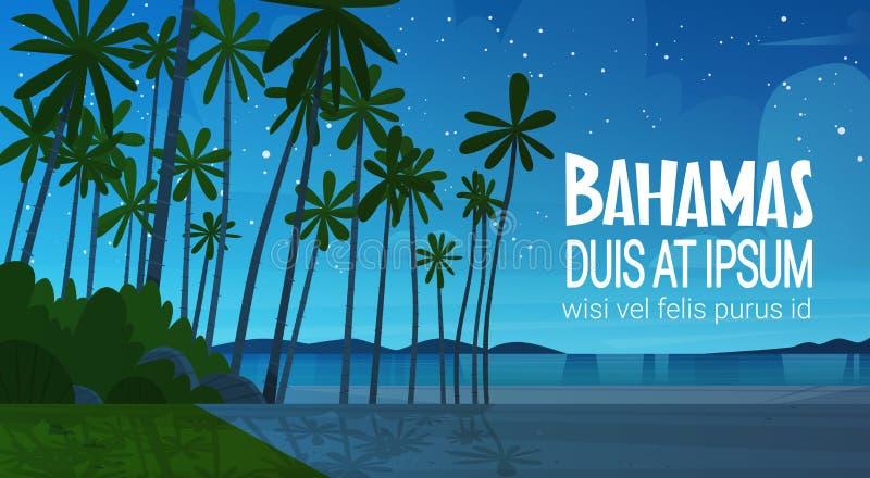 Strand för Bahamans havskust efter för sjösidalandskap för solnedgång härligt begrepp för semester för sommar royaltyfri illustrationer
