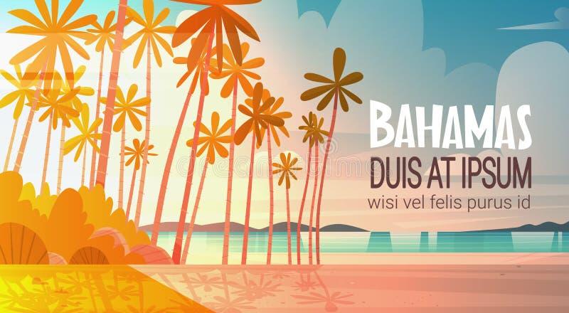 Strand för Bahamans havskust på för sjösidalandskap för solnedgång härligt begrepp för semester för sommar royaltyfri illustrationer