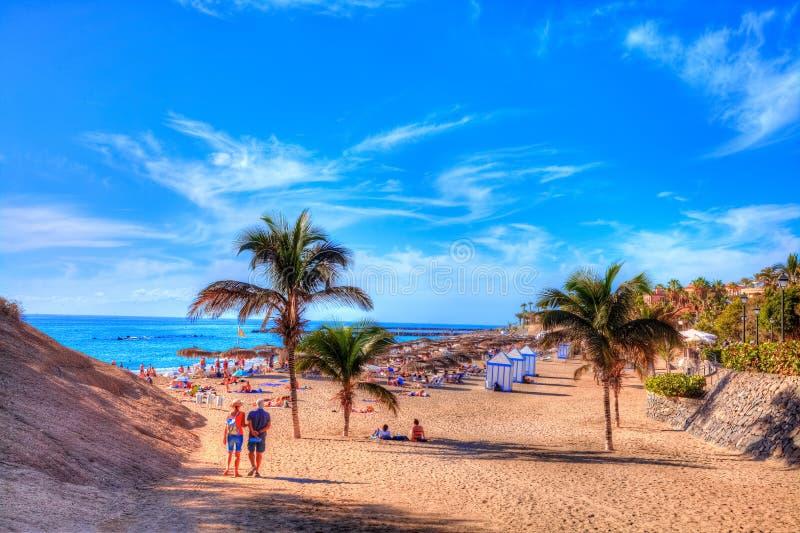 Strand för El Duque, Adeje kust i Tenerife, kanariefågelö av Spanien royaltyfri foto