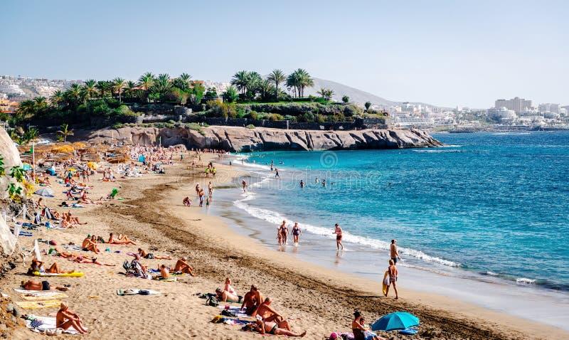 Strand för El Duque i Tenerife, kanariefågelöar arkivbild