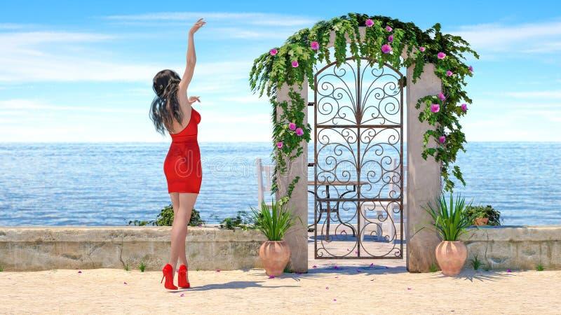 strand för hav för klänning för afton för härlig kvinna för brunett 3D röd royaltyfria foton
