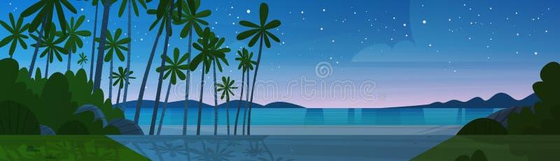 Strand för havskust efter för sjösidanatt för solnedgång härligt begrepp för semester för sommar för landskap royaltyfri illustrationer