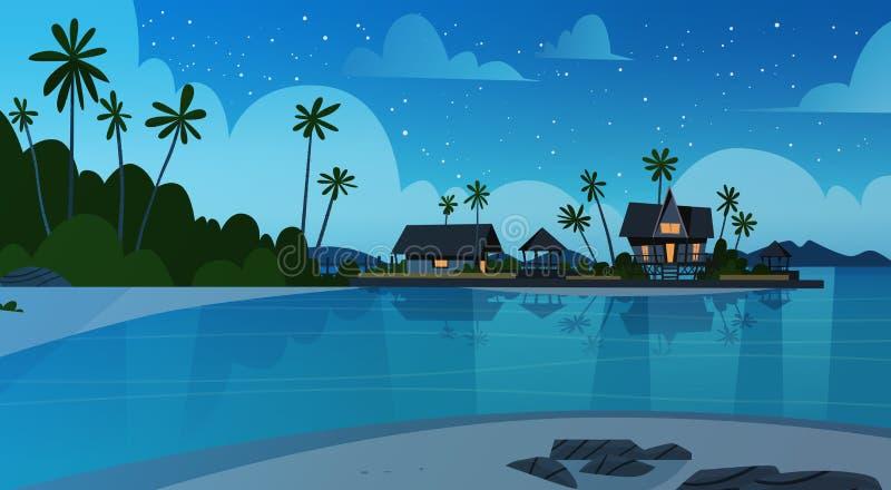 Strand för havskust med landskap för sjösida för villahotell härligt på begreppet för nattsommarsemester vektor illustrationer