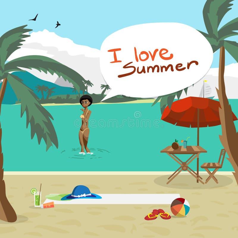 Strand för havslandskapsommar, palmträd, solparaplyer, chaise vektor illustrationer