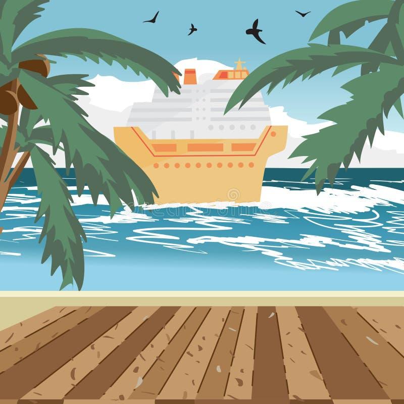 Strand för havslandskapsommar, trägolv, kryssningskepp royaltyfri illustrationer