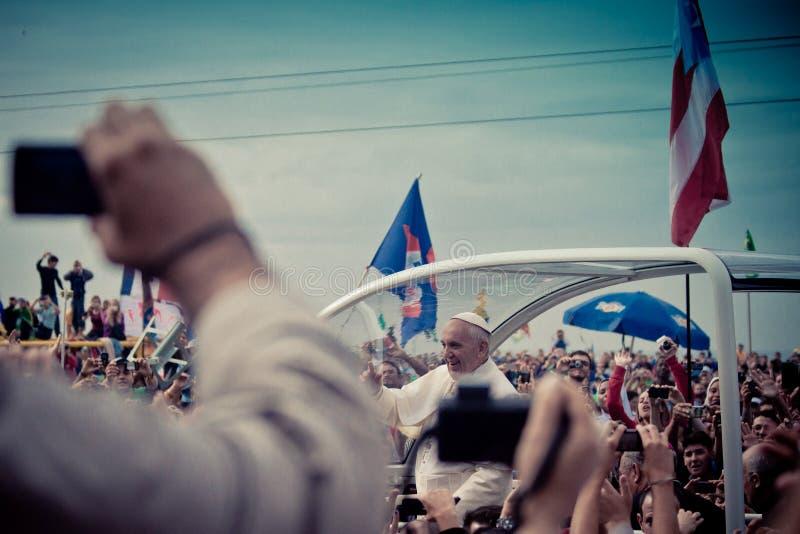 Strand för påve Francis Celebrates Mass On Copacabana arkivbild