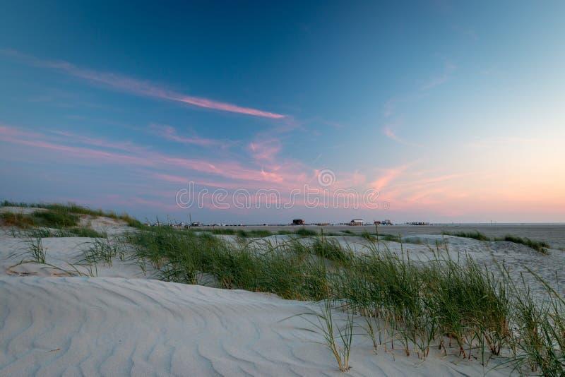 Strand för solnedgångSt Peter-Ording fotografering för bildbyråer