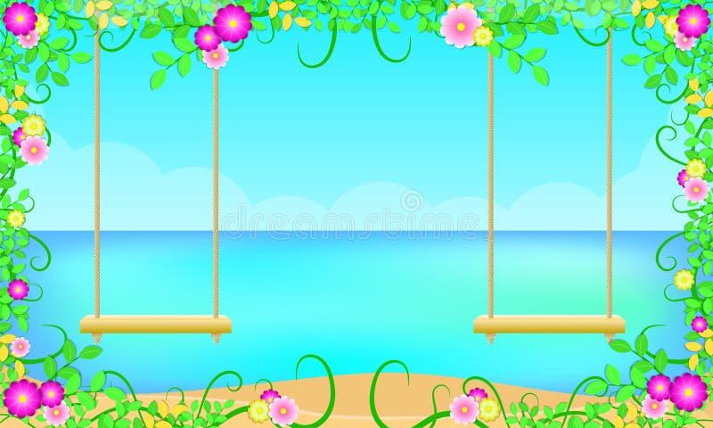 Strand för sommarsäsong omkring med ferie för hav för blå himmel för bladblommor härlig gunga två för förhållandevän också vektor vektor illustrationer