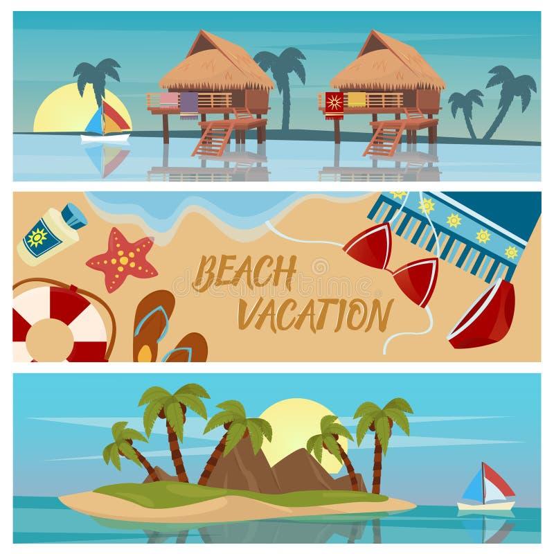 Strand-Ferien-horizontale Fahnen eingestellt lizenzfreie abbildung