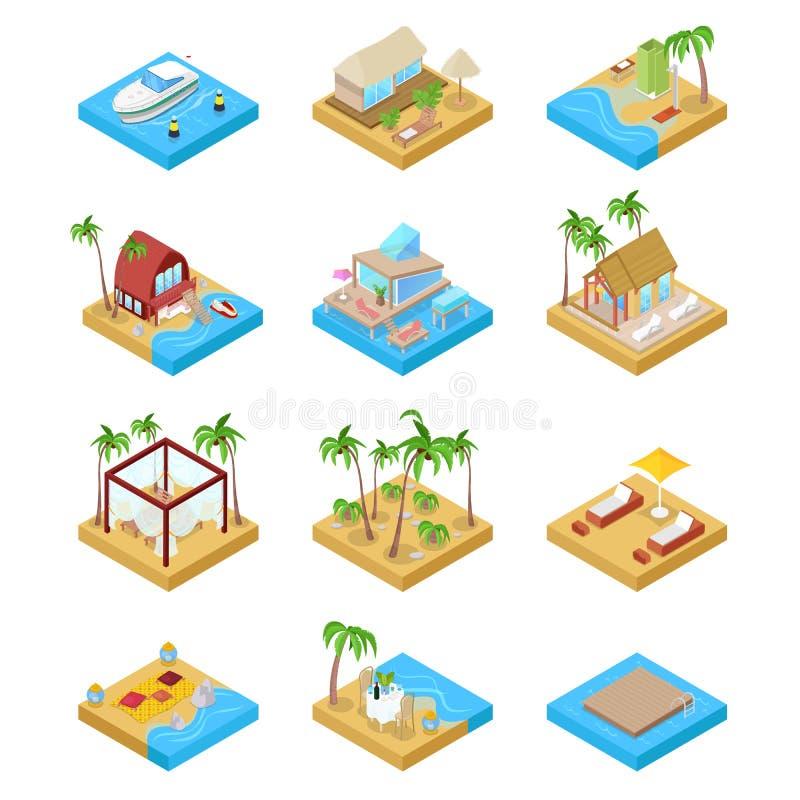 Strand-Ferien-Sammlung mit Bungalow-, Boots-und Landhaus-Klage Tropische Rücksortierung Isometrische flache Illustration 3d stock abbildung