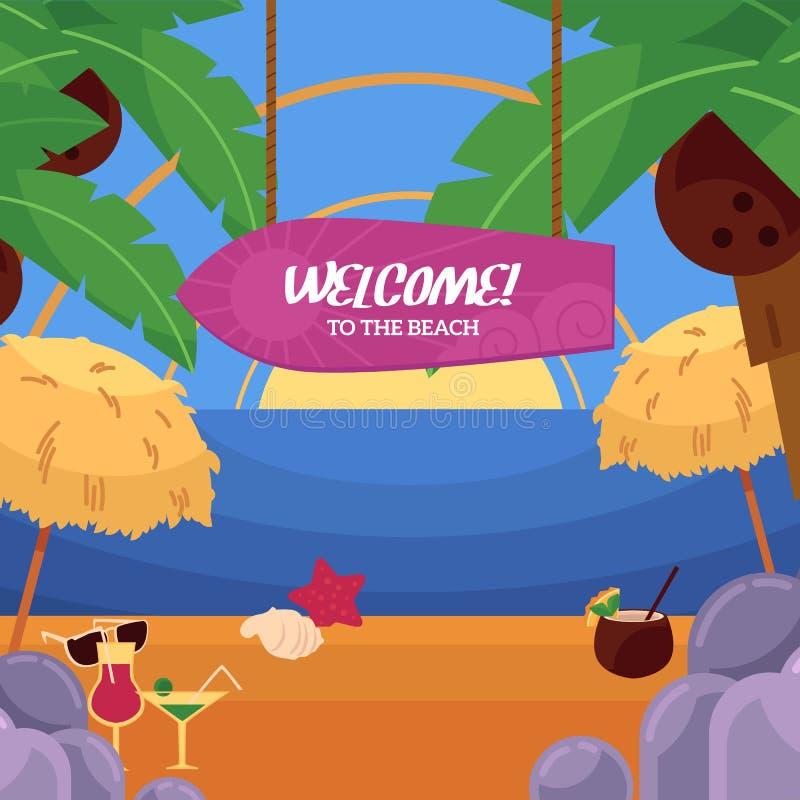 Strand-Ferienpanorama des Vektors flaches tropisches See lizenzfreie abbildung