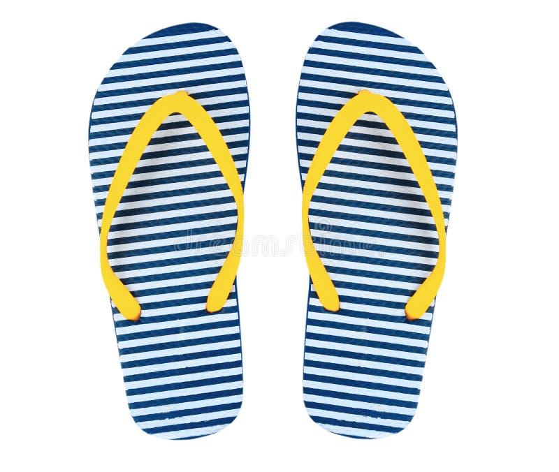 Strand Flipflop Farbe der lokalisierten, gelben und blauen Streifen stockfotos