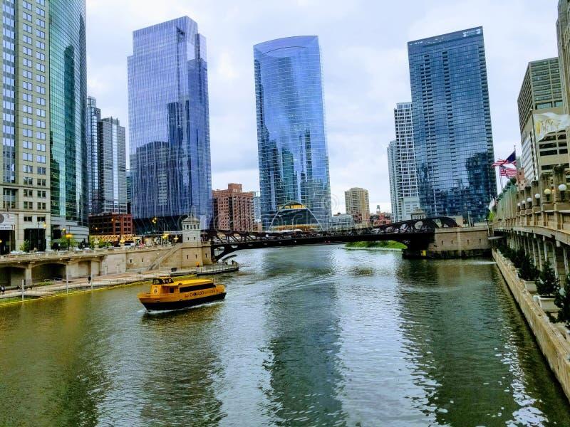 Strand g?r i staden av Chicago USA royaltyfria bilder
