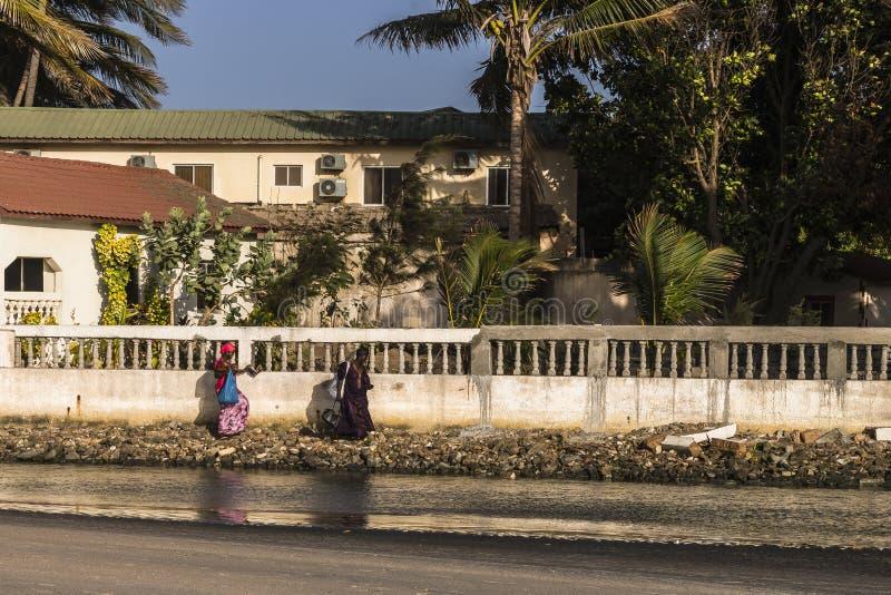 Strand in Gambia en twee vrouwen stock fotografie