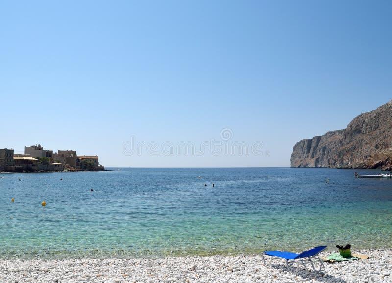 Strand in Gerolimenas, Mani in Griekenland stock afbeelding