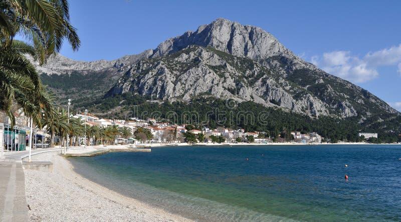 Strand in Gradac, Kroatië stock afbeelding
