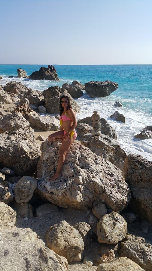 Strand in Griekenland royalty-vrije stock afbeeldingen