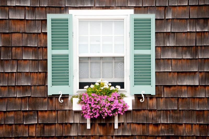 Strand-Häuschen-Fenster mit Blumen-Kasten stockfoto
