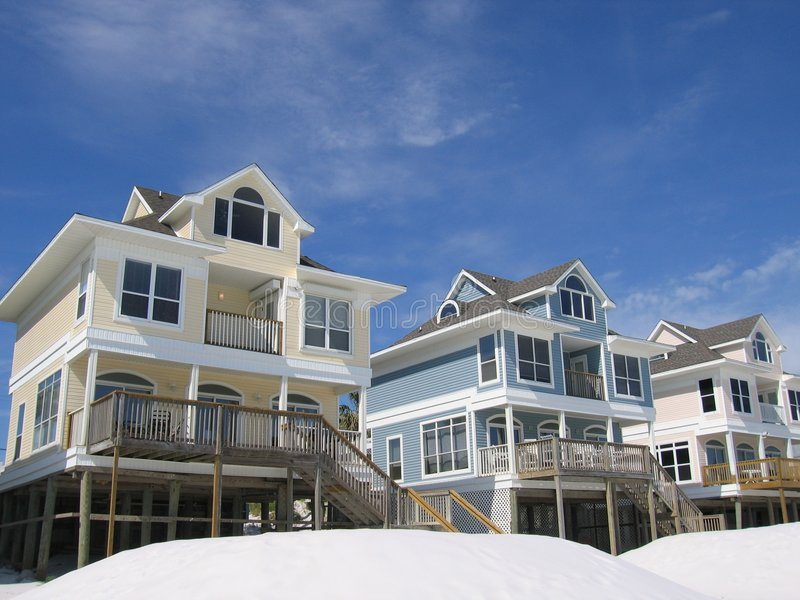 Strand-Häuser stockfotos