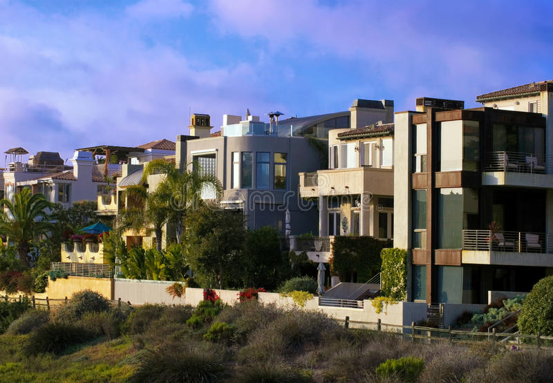 Strand-Häuser Süd-Kalifornien-Pazifischen Ozeans stockbilder