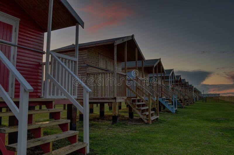 Strand-Hütten bei Leysdown auf Meer Kent stockfoto