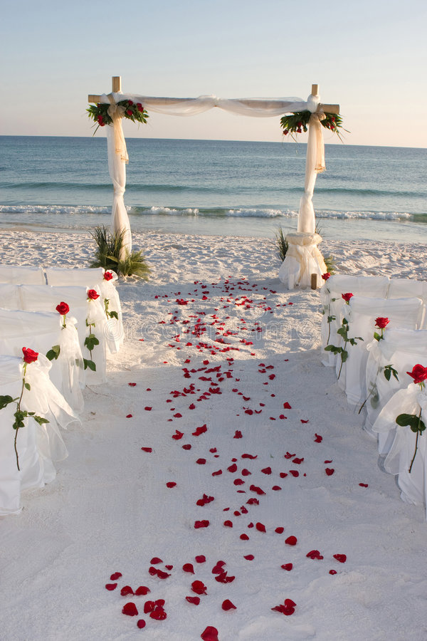 Strand-Hochzeits-Pfad-Rosen-Pedale stockfoto