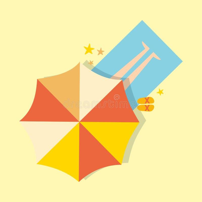 Strand hoogste mening met van de de vakantiereis van de paraplu heldere handdoek de zomertijd vector illustratie