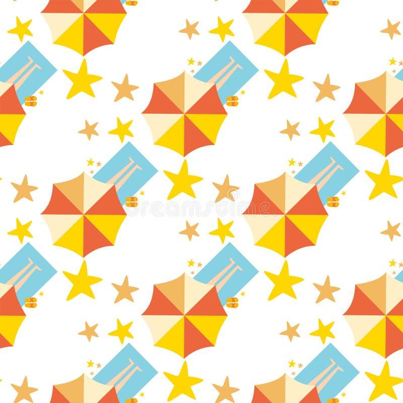 Strand hoogste mening met van de de vakantiereis van de paraplu heldere handdoek van de de zomertijd van het het ontwerp naadloze royalty-vrije illustratie